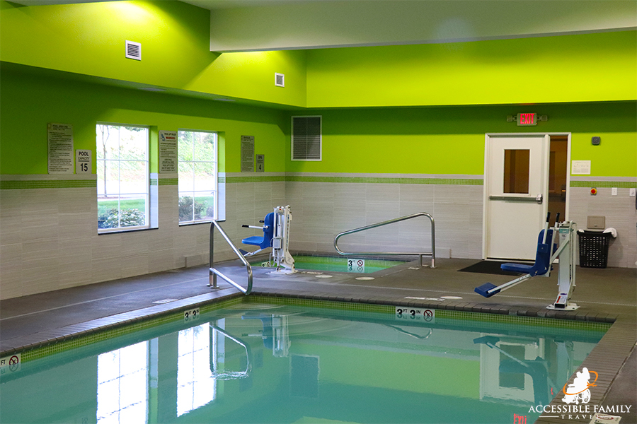 View of accessible pool and hot tub at La Quinta Inn & Suites in Tumwater