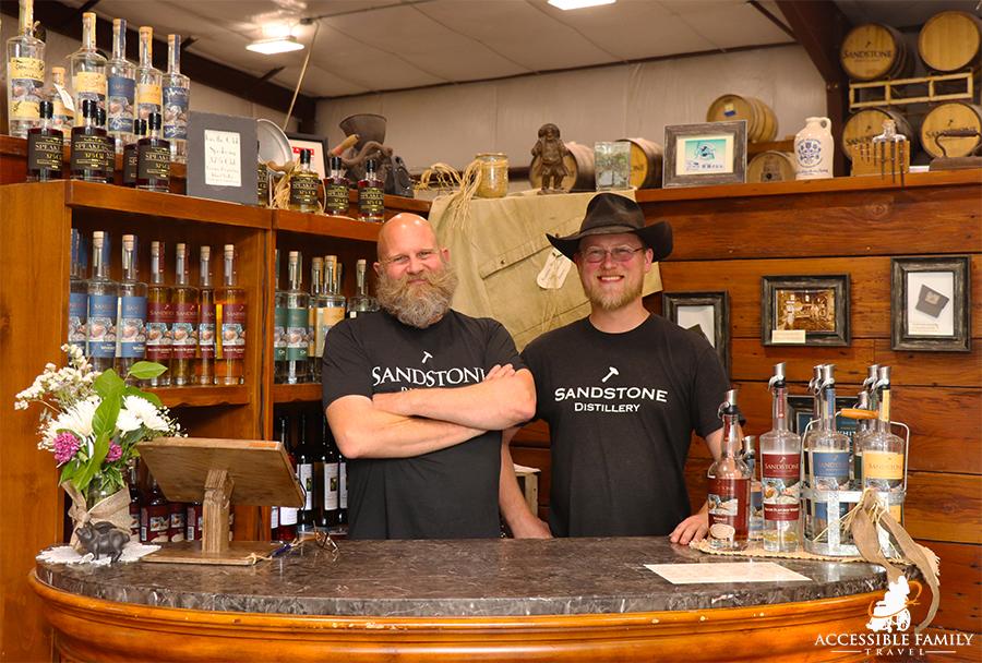 Father-son distillers at Sandstone Distillery