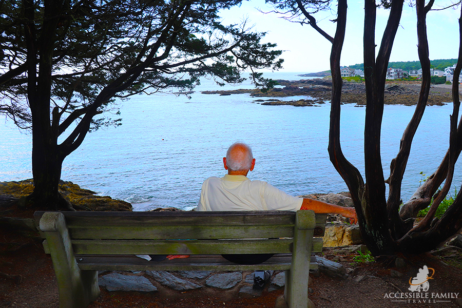 a senior man is seen sitting on a bench looking out at the water and shoreline.