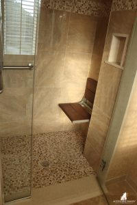 Meadowmere Resort ADA room with roll-in accessible shower